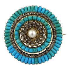 19th Century Victorian 18 Karat Gold Turquoises Pearl Diamonds Brooch