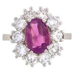 18 Karat White Gold Pink Sapphire Diamonds Cluster Ring