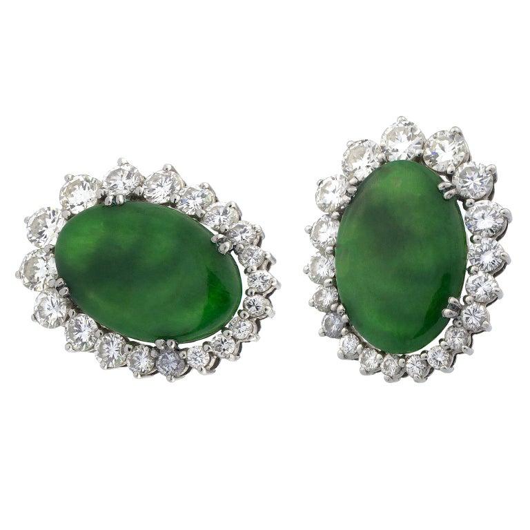 Jade Diamonds 18 Karat White Gold Earrings For Sale