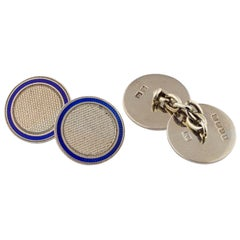 1925 English 18 Karat White Gold and Enamel Button Set Cufflinks