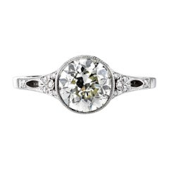 1.68 Carat EGL Certified Old European Cut Diamond Engagement Ring