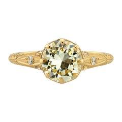 1.59 Carat EAL Certified Old European Cut Diamond Yellow Gold Engagement Ring