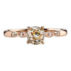 EGL Certified 0.64 Carat Old European Cut Diamond Engagement Ring