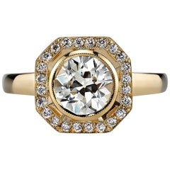 1.33 Carat Old European Cut Diamond Set in a Yellow Gold Engagement Ring