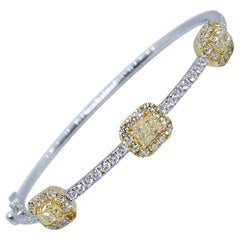Estate 18 Karat Two-Tone Yellow and White Diamond Radiant Cut Bangle Bracelet