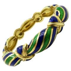 Estate 18 Karat Yellow Gold Blue and Green Enamel Bangle Bracelet