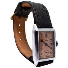 Art Deco Gents Tank Style Wrist Watch, 1930s, Zentra