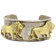 Estate 14 Karat Yellow Gold and Silver Gilli Designer Lion Cuff Bangle Bracelet