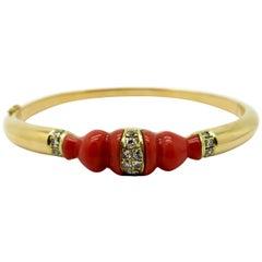 Estate 18 Karat Yellow Gold Carved Coral and Diamond Bangle Bracelet