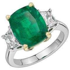 Classic 5.29 Carat Emerald Cushion Cut Diamond Three-Stone 18 Karat Gold Ring
