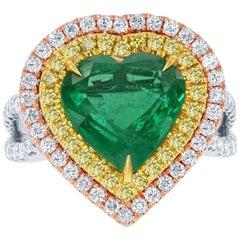 Halo 9.33 Carat Emerald Heart Shape Diamond Three-Stone 18 Karat White Gold Ring