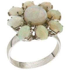 Australian Opal 18 Karat White Gold Cocktail Ring