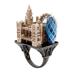 Enamel White Gold Rhodium Silver London Ring