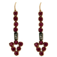 Ruby, 14 Karat Yellow Gold and Silver, Diamonds, Drop Earrings