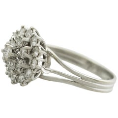 Vintage Diamond and White Gold Cluster Ring Circa 1960