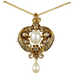 Natural Pearl Rose Cut Diamond Pendant Necklace 18 Karat Solid Gold