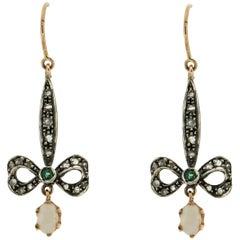 Australian Opal 9 Karat Gold and Silver Emeralds Diamonds Drop Earrings