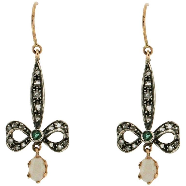 Australian Opal 9 Karat Gold and Silver Emeralds Diamonds Drop Earrings For Sale