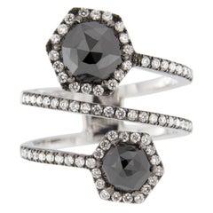 Jona Black Diamond and White Diamond 18 Karat White Gold Crossover Ring Band