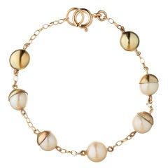 9 Carat Yellow Gold and Pearl 'Lunar' Bracelet