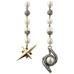 18 Carat Yellow Gold, Blackened Silver, Pearl and Diamond Star Earrings