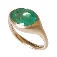 Dalben Design Oval Emerald Rose Gold Ring