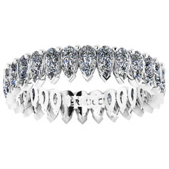 1.90 Carat White Pear Shape Diamonds Eternity Band Platinum 950