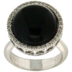 Onyx 18 Karat White Gold Diamonds Cocktail Ring