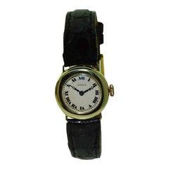 Lecoultre 14 Karat Solid Gold Art Deco Ladies Wrist Watch, circa 1920s