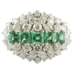 Emeralds, Diamonds, White Gold Fashion Ring