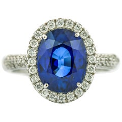 5.61 Carat Crivelli 18 Karat White Gold Blue Sapphire Diamond Ring