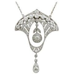 2.86 Carat Diamond and Platinum Necklace, Art Deco, Antique, circa 1930
