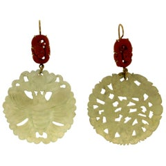 Jade 18 Karat Yellow Gold Coral Drop Earrings