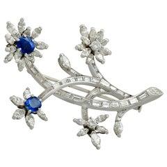 1950s 1.26 Carat Sapphire and 5.05 Carat Diamond, Platinum Flower Brooch