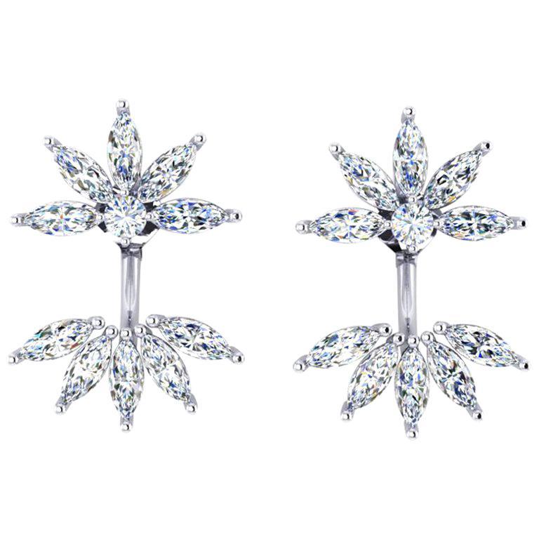 Ferrucci 2.60 Carat Marquise Diamonds in 18k white gold Original Flower Earrings For Sale