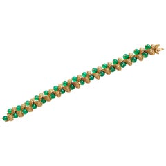 Van Cleef & Arpels Bracelet in Yellow Gold and Chrysoprases, 1965