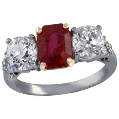 AGL Certified Art Deco Burma No Heat Ruby and Diamond Ring