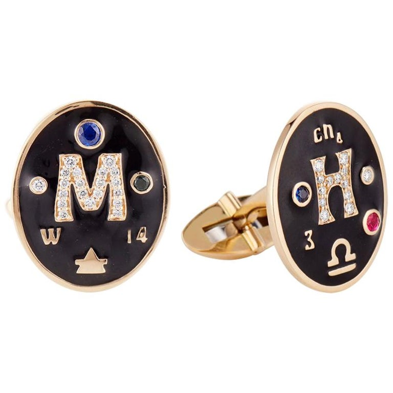 Marlo Laz 14K Gold Men's Bespoke Cufflinks with Diamonds Zodiac Sign Birthstones For Sale