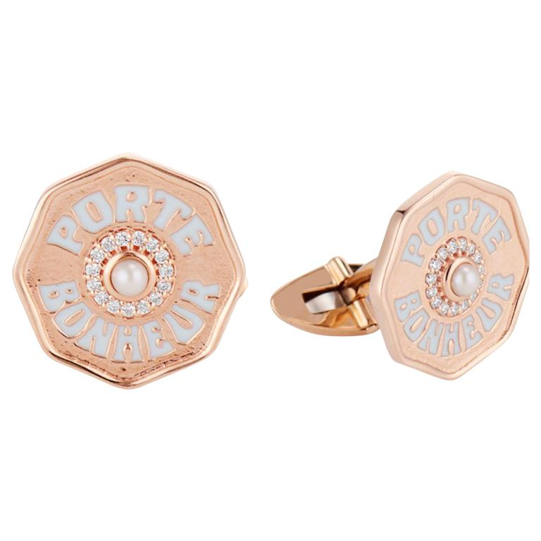 Marlo Laz 14 Karat Gold Men's Je Porte Bonheur Diamond Cufflinks For Sale