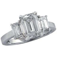 GIA Certified 2.03 Carat Emerald Cut Diamond Three-Stone Engagement Ring