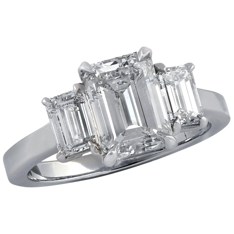 Vivid Diamonds 2.03 Carat Emerald Cut Diamond Three-Stone Engagement Ring For Sale