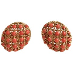 Cartier Oval Clip Earrings 18 Carat Yellow Gold and Coral