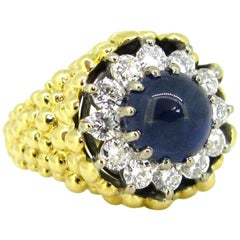 Kutchinsky Sapphire Diamond Cluster Yellow Gold 1970s Ring
