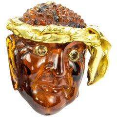 Estate Outstanding Gemstone Amber 22 Karat Gold Pirate Mask Antique Brooch Pin