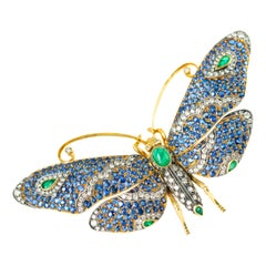 Tiffany & Co. Sapphire, Emerald and Diamond 18 Karat Gold Butterfly Brooch