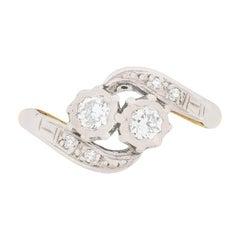 Edwardian Two-Stone Twist Engagement Ring, circa 1910