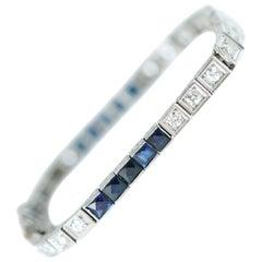 1920s 5 Carat Sapphire and 2 Carat Diamond Platinum Bracelet