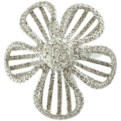 Diamonds, White Gold Flower Fashion Ring