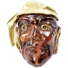 Antique Gemstone Amber Gold Figural Mask Pirate Brooch Pin Estate Fine Jewelry