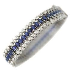Sapphire and Diamond 18 Karat White Gold Bracelet